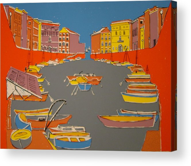 Acrylic Print featuring the painting Leghorn Canal by Biagio Civale