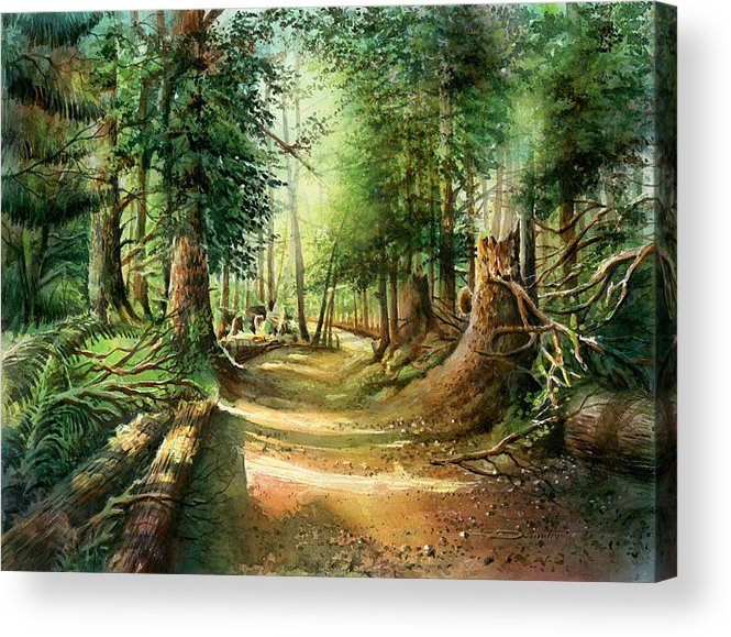Landscape Acrylic Print featuring the painting After The Storm Stanley Park by Dumitru Barliga