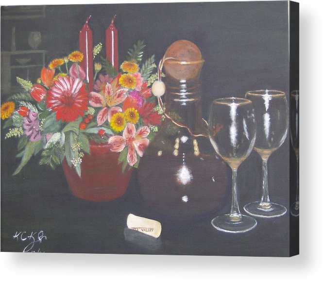 Flower Arrangement Acrylic Print featuring the painting Celebrating 60 by KC Knight