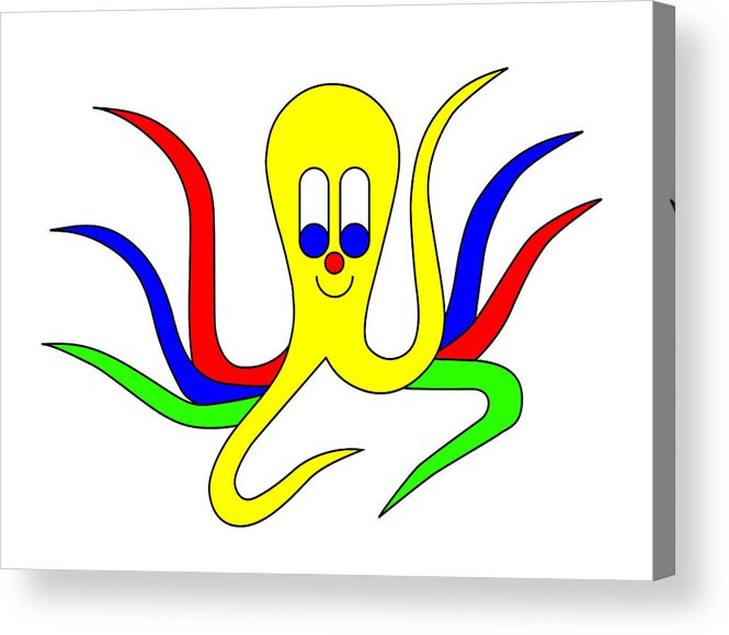 Octo-pus Acrylic Print featuring the digital art Octo-pus The Cuttlefish by Asbjorn Lonvig
