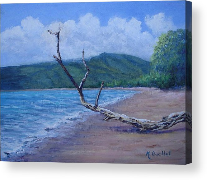 Landscape Acrylic Print featuring the painting Kihei Beach Tree by Maxine Ouellet