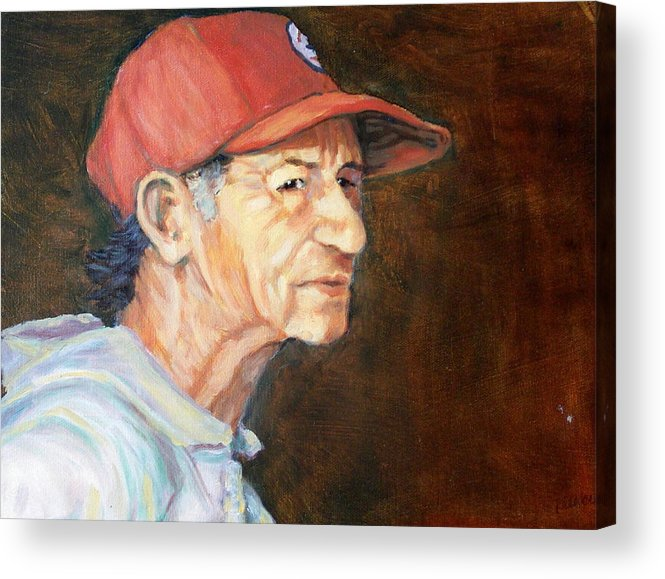 Old Man Acrylic Print featuring the painting Man In Red Cap by Ruth Mabee