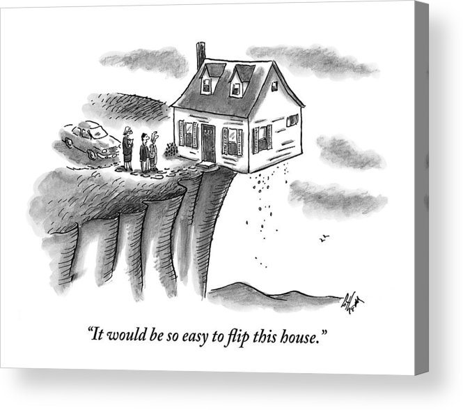 Houses Acrylic Print featuring the drawing A Couple And A Real Estate Representative Stand by Frank Cotham