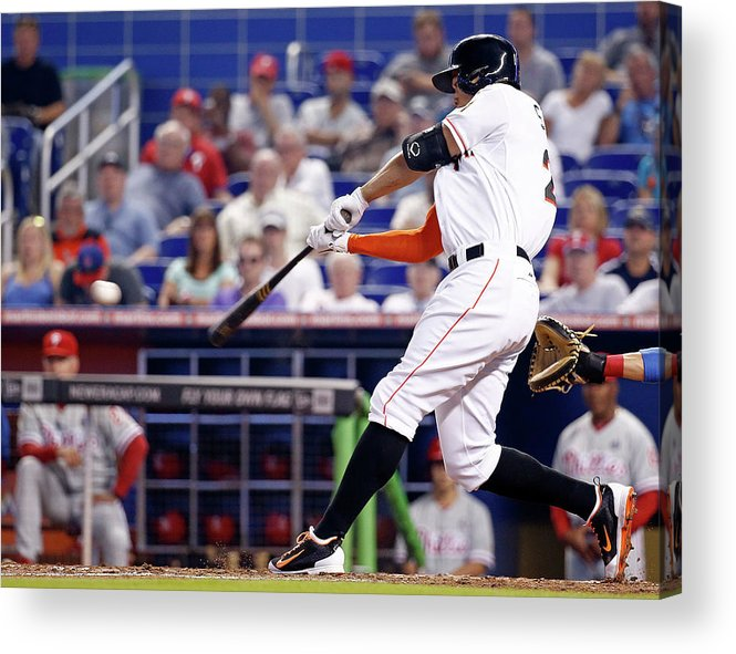 American League Baseball Acrylic Print featuring the photograph Philadelphia Phillies V Miami Marlins 1 by Rob Foldy