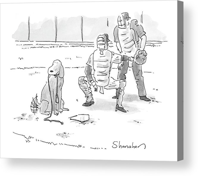 Sports Pets Dogs Baseball Homeplate Walk Acrylic Print featuring the drawing New Yorker October 10th, 2005 by Danny Shanahan