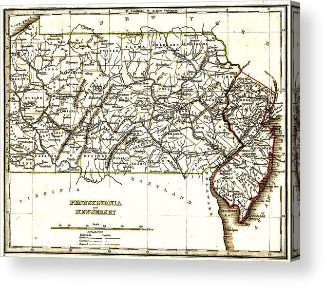 1835 Pennsylvania And New Jersey Map Acrylic Print featuring the drawing 1835 Pennsylvania And New Jersey Map by Bill Cannon
