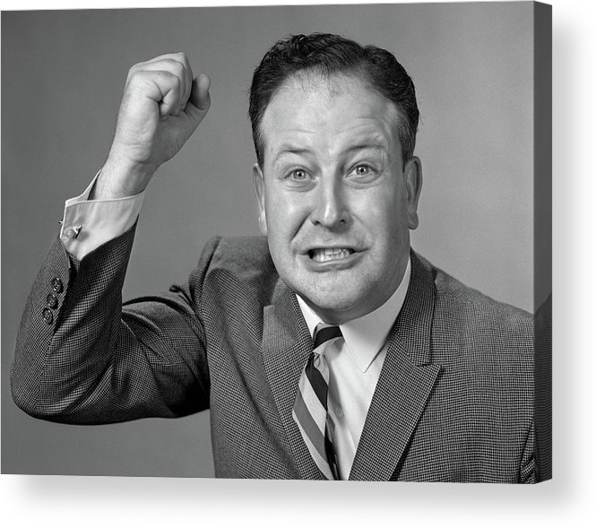Photography Acrylic Print featuring the photograph 1950s 1960s Portrait Of Angry Man by Vintage Images