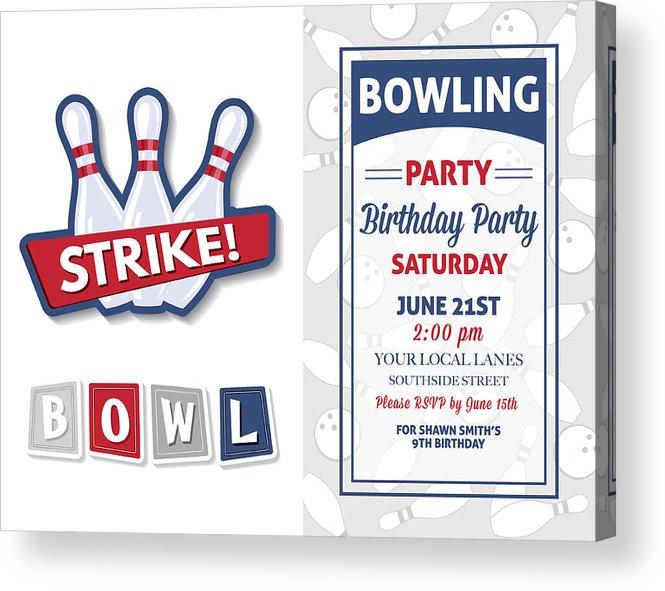 Retro Style Bowling Birthday Party Invitation Template Acrylic Print