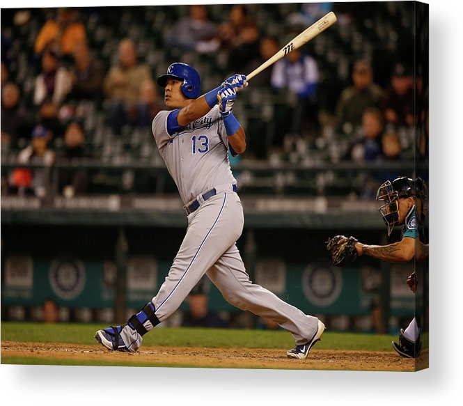 Salvador Perez Diaz Acrylic Print featuring the photograph Kansas City Royals V Seattle Mariners by Otto Greule Jr