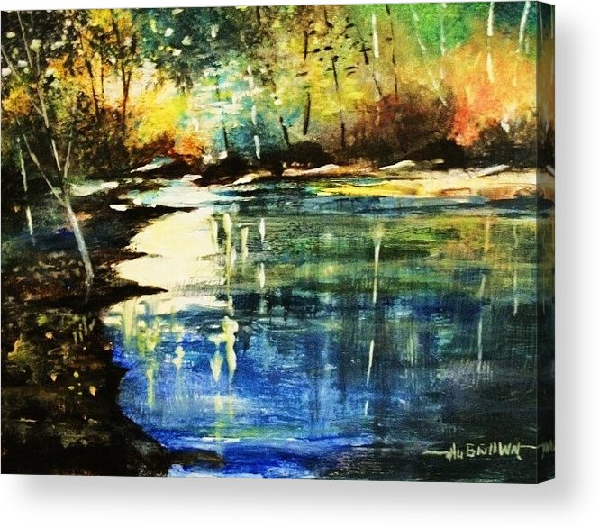 Forest Acrylic Print featuring the painting A Place Of Peace And Tranquility by Al Brown
