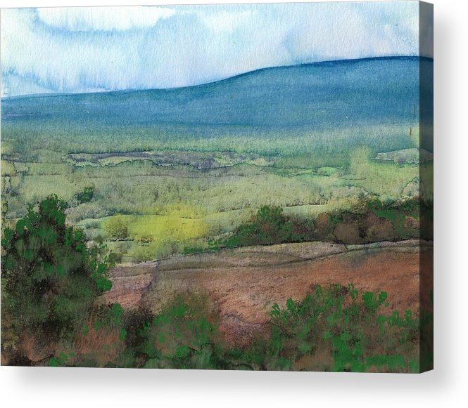 Watercolor Painting Acrylic Print featuring the painting Abstract Landscape 7 by Susan Powell