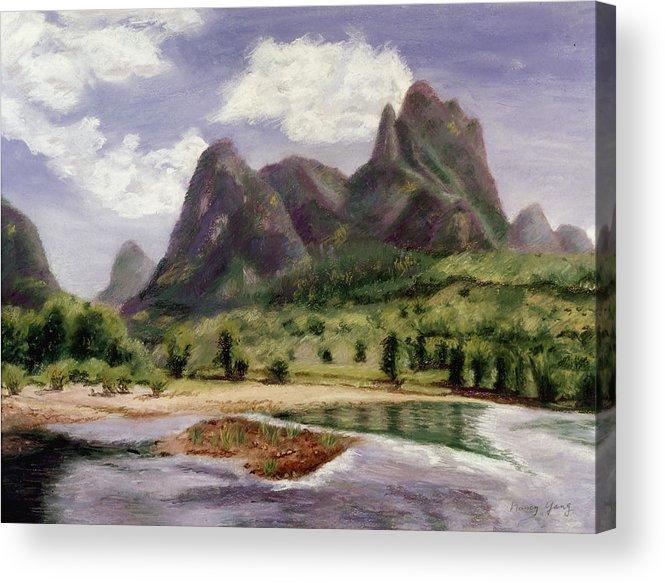 Landscape Acrylic Print featuring the pastel Along The Li River by Nancy Yang