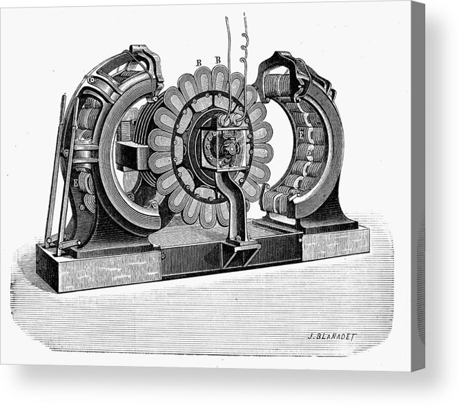 19th Century Acrylic Print featuring the photograph Alternating-current Dynamo by Granger