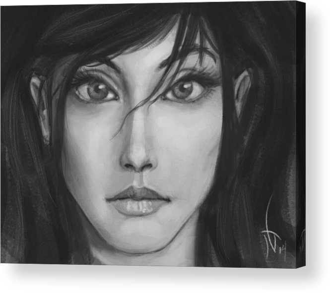 Black & White Acrylic Print featuring the painting Ameliorate by Johanna Guarino