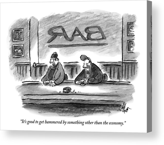 Money Acrylic Print featuring the drawing An Unshaven Man Says To Another Man At A Bar by Frank Cotham