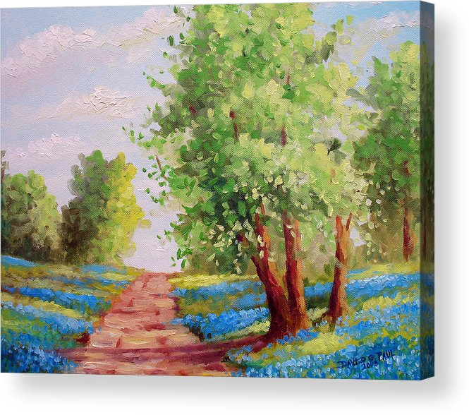 Bluebonnets Acrylic Print featuring the painting Backroad Bluebonnets by David G Paul