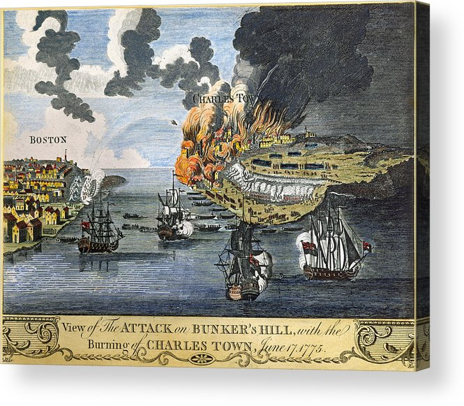 1775 Acrylic Print featuring the photograph Battle Of Bunker Hill, 1775 by Granger