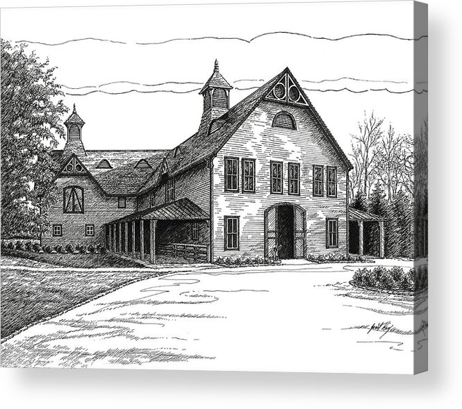 Belle Meade Plantation Acrylic Print featuring the drawing Belle Meade Plantation Carriage House by Janet King