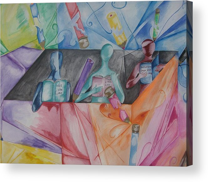 Rainbow Acrylic Print featuring the drawing Between The Lines by Arts-nthebld X