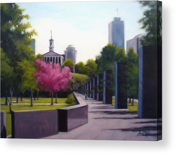 Capital Building In Nashville Tennessee Acrylic Print featuring the painting Bicentennial Capital Mall Park by Janet King