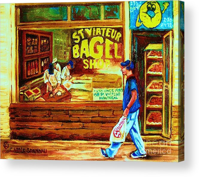 St.viateur Bagel Acrylic Print featuring the painting Boy With The Steinbergs Bag by Carole Spandau