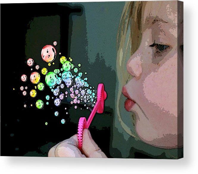 Bubble Magic Acrylic Print featuring the mixed media Bubble Magic by Ellen Henneke