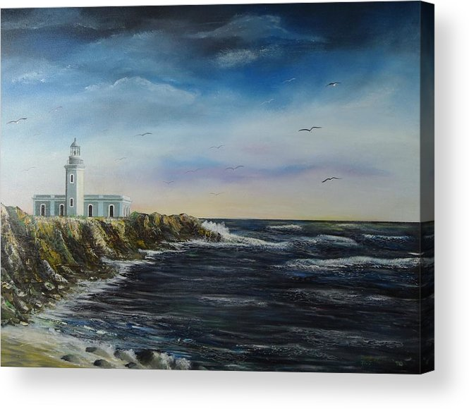 Cabo Rojo Lighthouse Acrylic Print featuring the painting Cabo Rojo Lighthouse by Tony Rodriguez