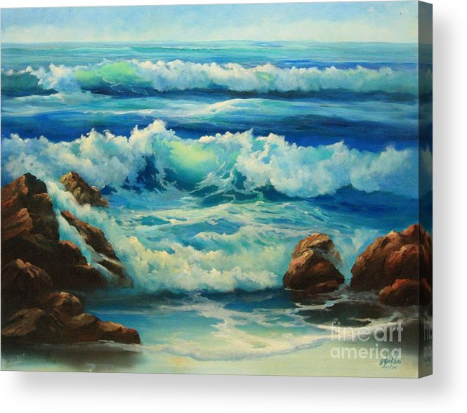 Seascape Acrylic Print featuring the painting Carmel By The Sea by Gail Salitui
