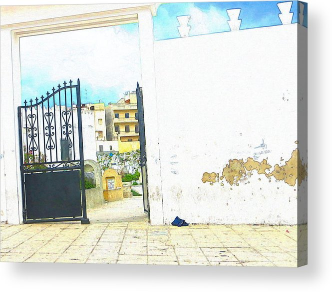 Moroccan Acrylic Print featuring the photograph Cemetery Gate Tangier by Candee Lucas