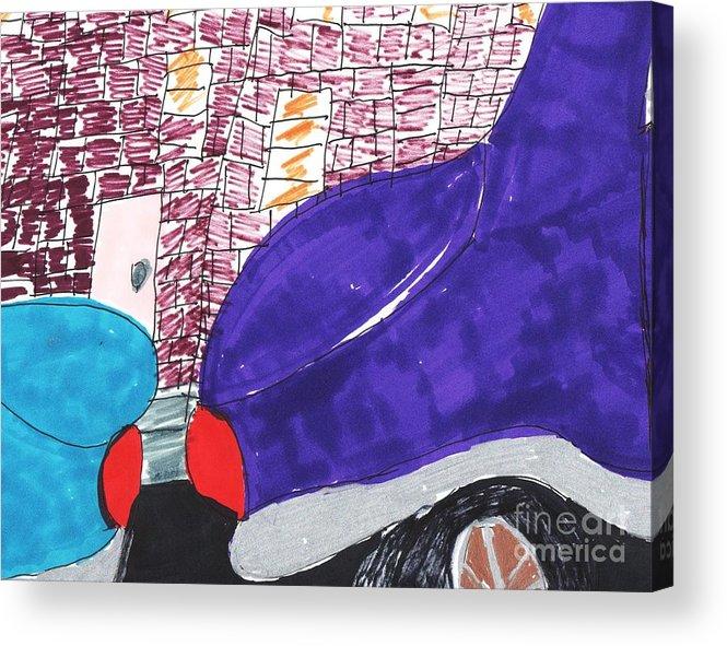 2 Cars Parked One Blue One Seablue Acrylic Print featuring the mixed media City Curb Street Parking by Elinor Helen Rakowski