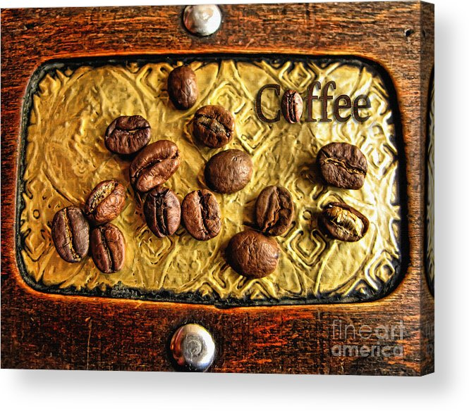 Coffee Bean Acrylic Print featuring the photograph Coffee Beans And Wood by Daliana Pacuraru