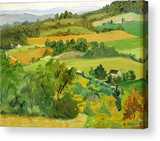 View From Daisy Hollow Acrylic Print featuring the painting Daisy Hollow Dryden New York by Ethel Vrana