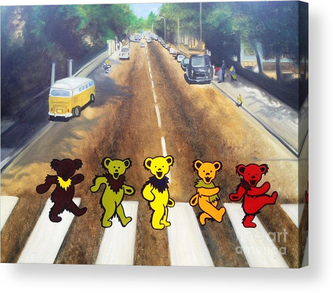 Beatles Acrylic Print featuring the painting Dead On Abbey Road by Jen Santa