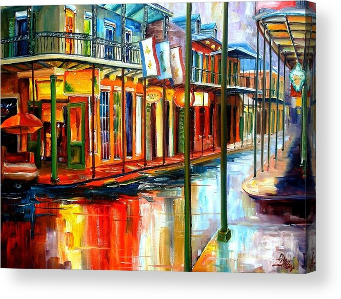 New Orleans Acrylic Print featuring the painting Downpour On Bourbon Street by Diane Millsap