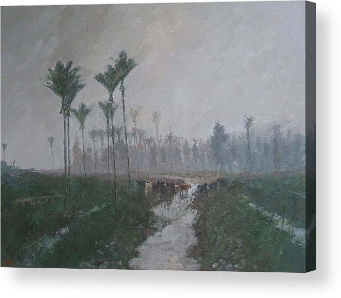 Landscape.cows Acrylic Print featuring the painting Drainage Channels On The West Coast by Malcolm Mason