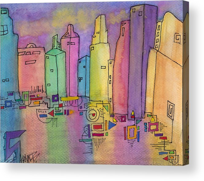 Abstract Acrylic Print featuring the painting Electric City by Shawn Brandon