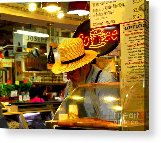 Farmer;s Market Acrylic Print featuring the photograph Farmer's Market At Reading Terminal by Cindy Manero