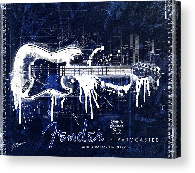 Fender blueprint washout acrylic print by gary bodnar fender acrylic print featuring the digital art fender blueprint washout by gary bodnar malvernweather Images
