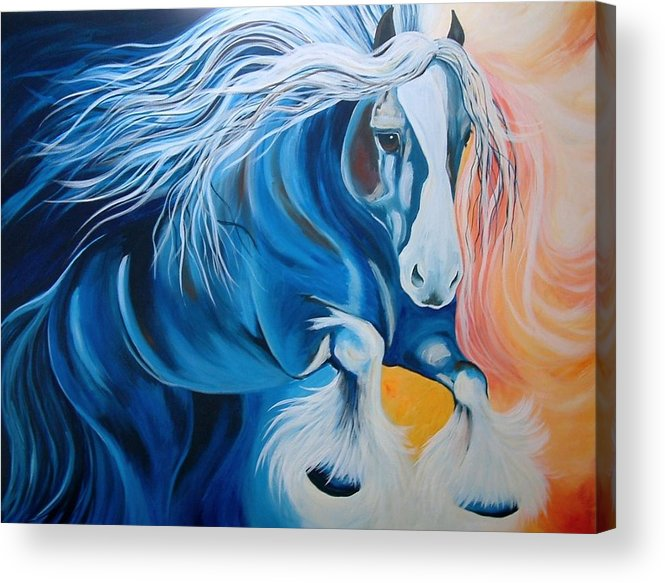 Friesian Acrylic Print featuring the painting Fire And Blue Ice by Alisha Lang