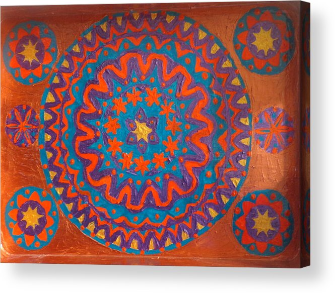 Mandala Acrylic Print featuring the painting Flowering Waves Tray by Amy Hassan