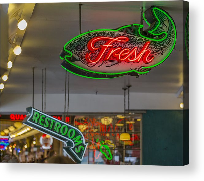 Sign Acrylic Print featuring the photograph Fresh Restrooms by Scott Campbell