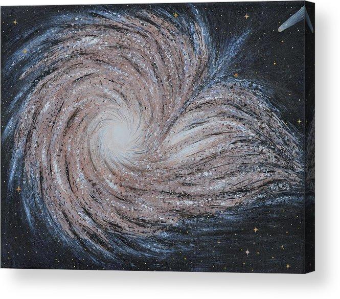 Sky Acrylic Print featuring the painting Galactic Amazing Dance by Georgeta Blanaru