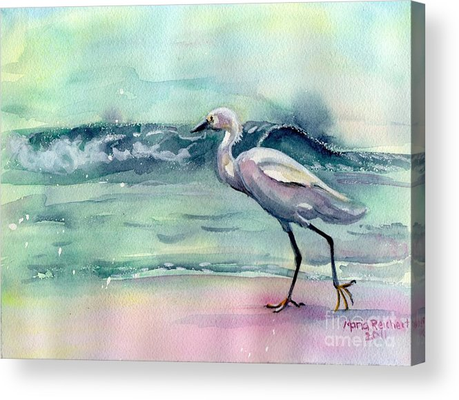 Egret Painting Acrylic Print featuring the painting Going Home by Maria's Watercolor