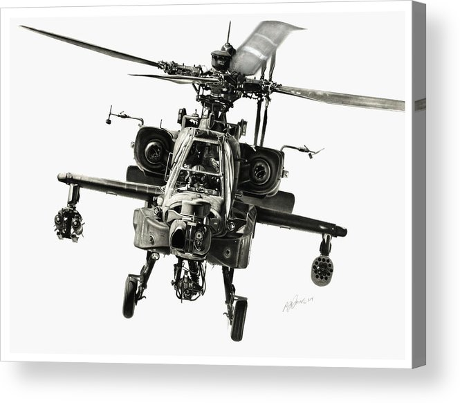 Apache Helicopter Acrylic Print featuring the drawing Gunship by Murray Jones