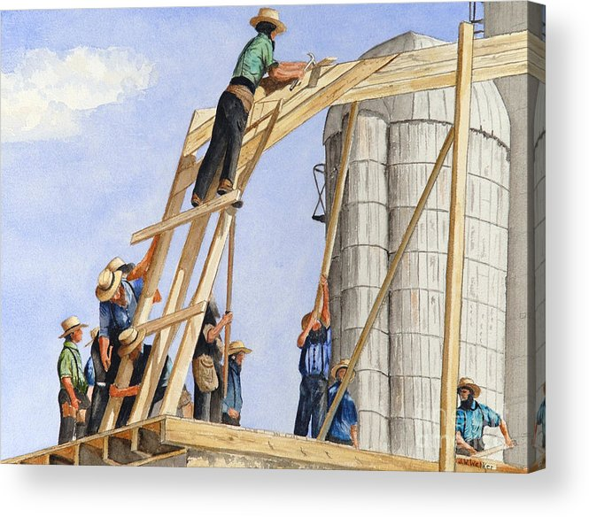 Amish Acrylic Print featuring the painting Helping Hands Helping Hearts by John W Walker