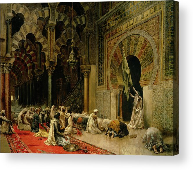 Interior Of The Mosque At Cordoba Acrylic Print featuring the painting Interior Of The Mosque At Cordoba by Edwin Lord Weeks