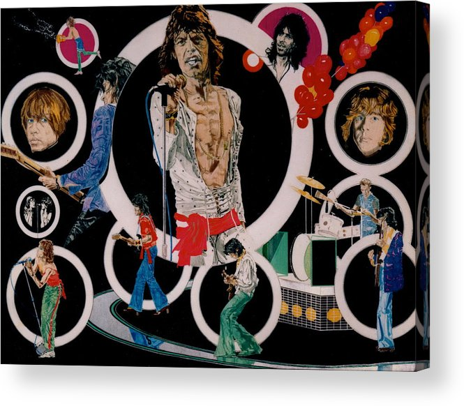 Mick Jagger;keith Richards;brian Jones;charlie Watts;bill Wyman;rock & Roll;music;guitars;water Acrylic Print featuring the drawing Ladies And Gentlemen - The Rolling Stones by Sean Connolly