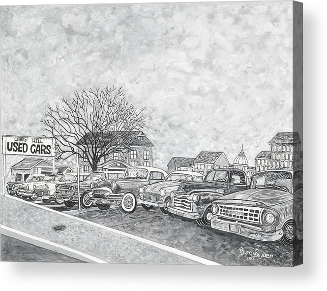 Vintage Automobiles Acrylic Print featuring the painting Larry Hill Vintage Car Lot by Byron K Snyder