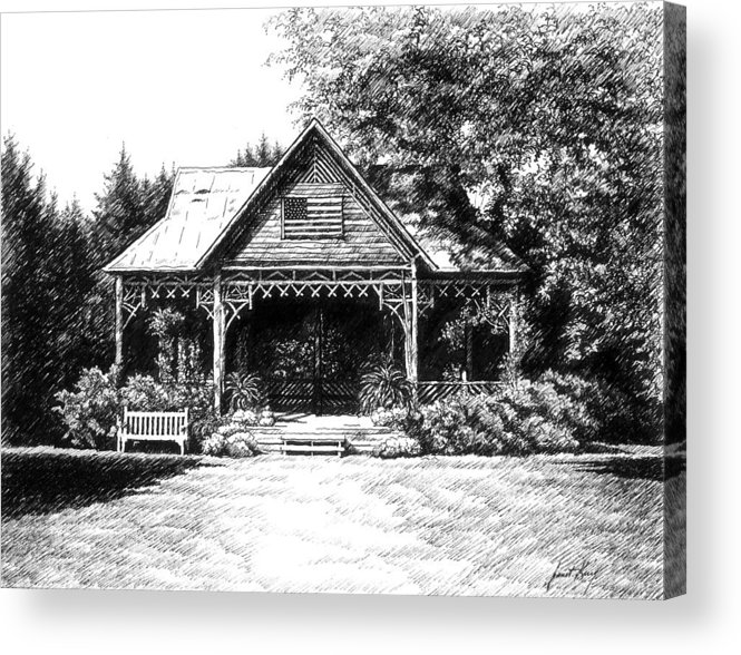 Pen And Ink Drawing Acrylic Print featuring the drawing Lawn Chair Theater In Leiper's Fork by Janet King