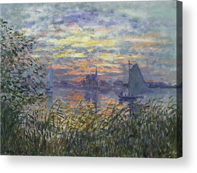 Claude Monet Acrylic Print featuring the painting Marine View With A Sunset by Claude Monet